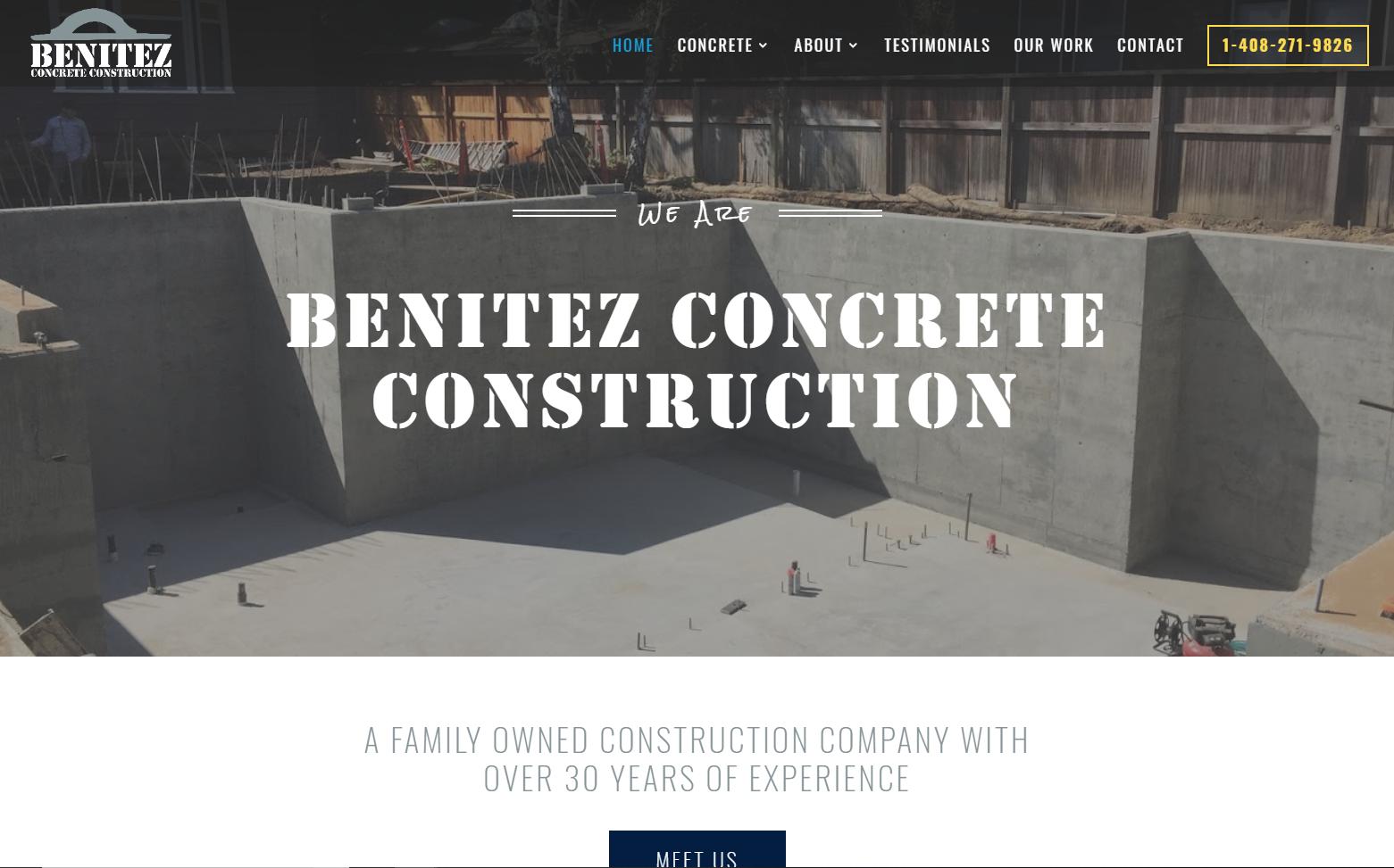 Benitez Concrete Construction - Website Redesign & Social Media marketing